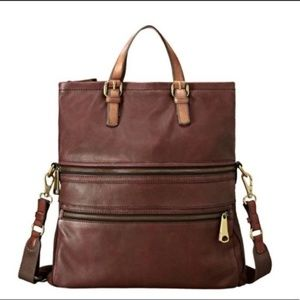 Fossil Leather  Brown Explorer Crossbody Bag